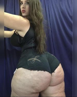 Massive White Booty in Jean Shorts