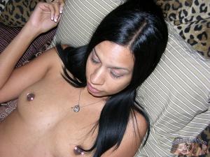 Amateur Black Girl with Hard Pierced Nipples