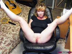 Shaved Pussy and Legs Spread Wide Open
