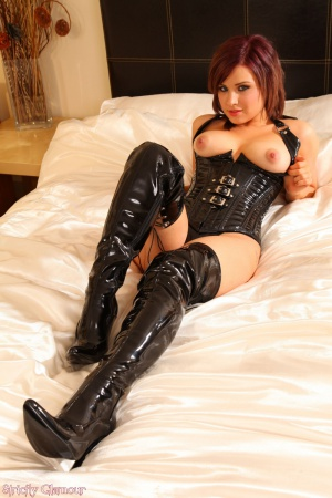 Perfect Teen Tits in a Tight Latex Corset