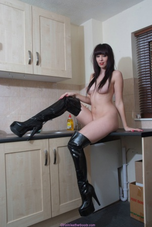 Small Waist and Big Hips in PVC Thigh Boots