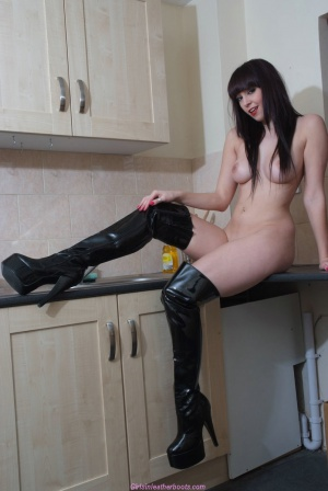 Big Ass White Girl in Latex Thigh Boots
