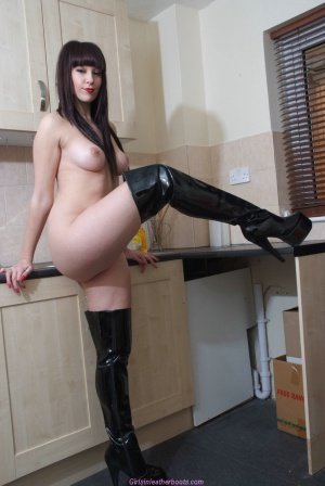 Huge White Ass in Shiny PVC Boots