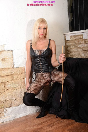 Dominant GILF in a Crotchless Fishnet Bodystocking