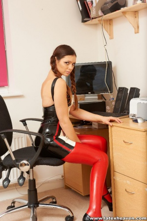 Young Ass in a Super Tight Latex Minidress