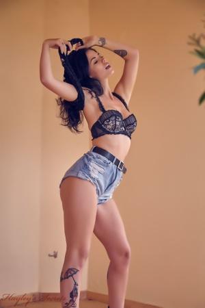 Tattooed Big Booty Latina in Mini Shorts