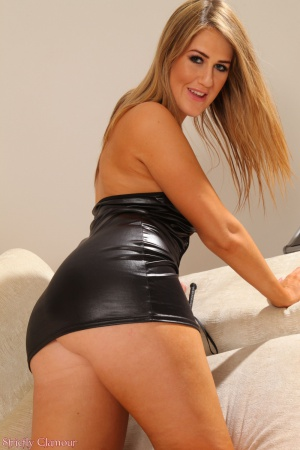 Big Fat Booty Twerking in a Latex Mini Skirt