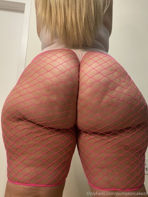 Blonde PAWG with a Gigantic White Booty in Fishnets