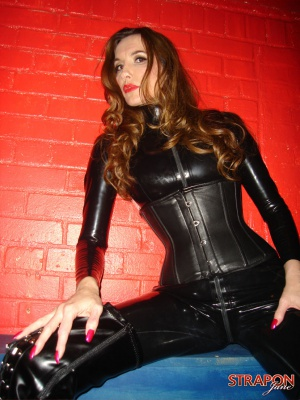 Brunette Cougar with Her Legs Spread Wide Open in Latex Leggings