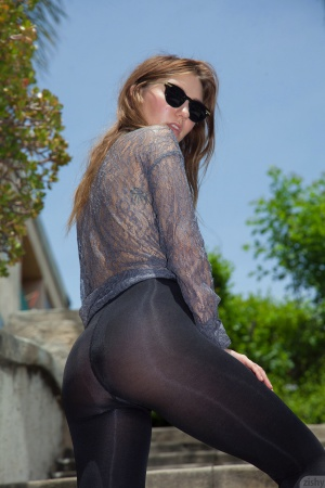 Big Booty Teen in Shiny Spandex Tights