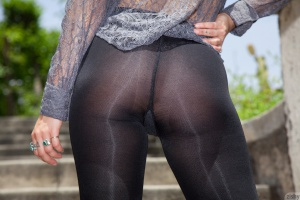 Amazing Ass in Shiny Spandex Pantyhose