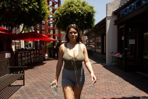 Fat Ass Latina Walking in Mini Shorts