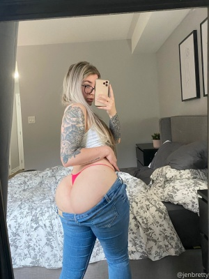 Fat White Butt in Tight Jeans