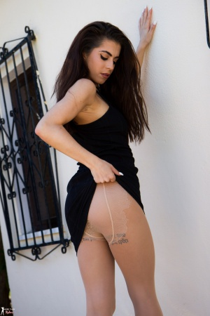 Tattooed Ass Cheeks in Pantyhose