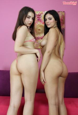 Juicy Ass Cheeks Bouncing in String Bikini Thongs