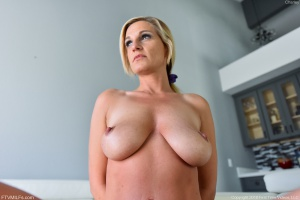 Horny Blonde MILF with Huge Tits