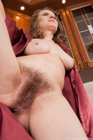 Curvy Mature Hairy Pussy with Legs Spread Wide Open