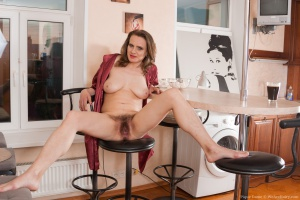 Hairy Housewife with Legs Spread Wide Open
