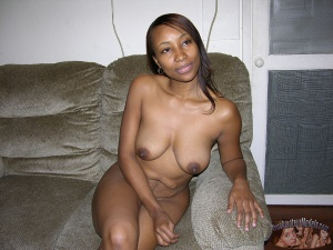 Busty Black Amateur with Erect Nipples