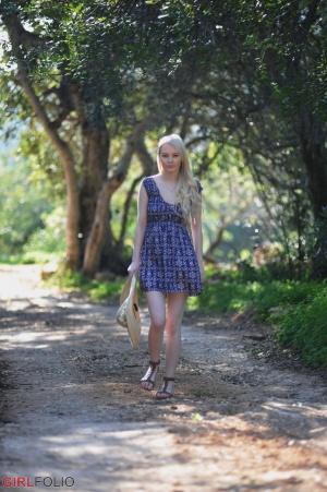 Petite Blonde Teen Walking in a Minidress