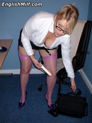 Blonde Secretary Ass in Shiny Nylon Stockings
