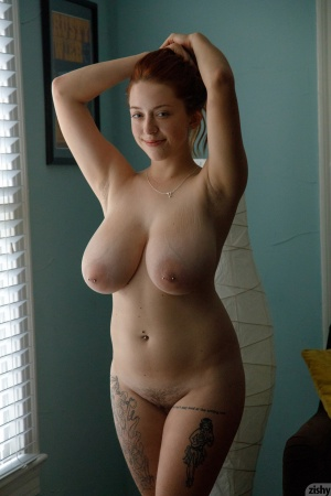 Pierced Fat Ass Redhead with Huge Boobs