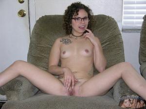 Tattooed Skinny Girl Pussy Spreading
