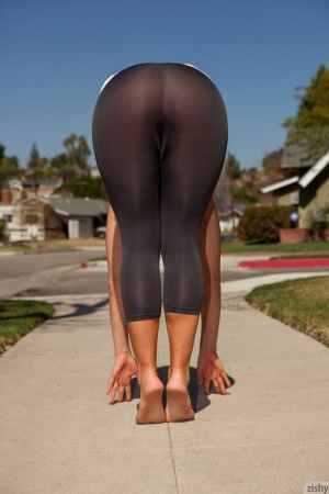 Fat Bubble Butt Bent Over in Spandex Pantyhose