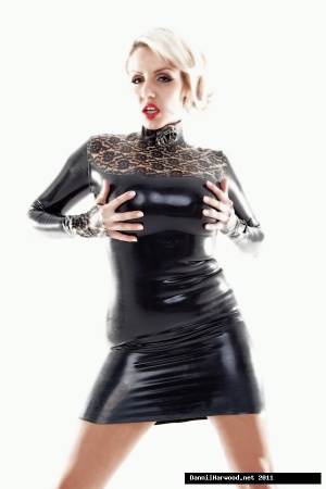 Dominant Latex Bitch in a Rubber Minidress