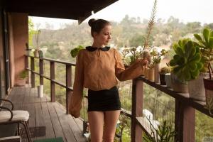 Slender Teen Flashing Her Silk Panties