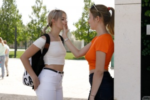 Young Amateur College Girls Kissing